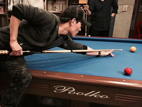 the J staff playing pool at the 2015 Gapyung workshop
