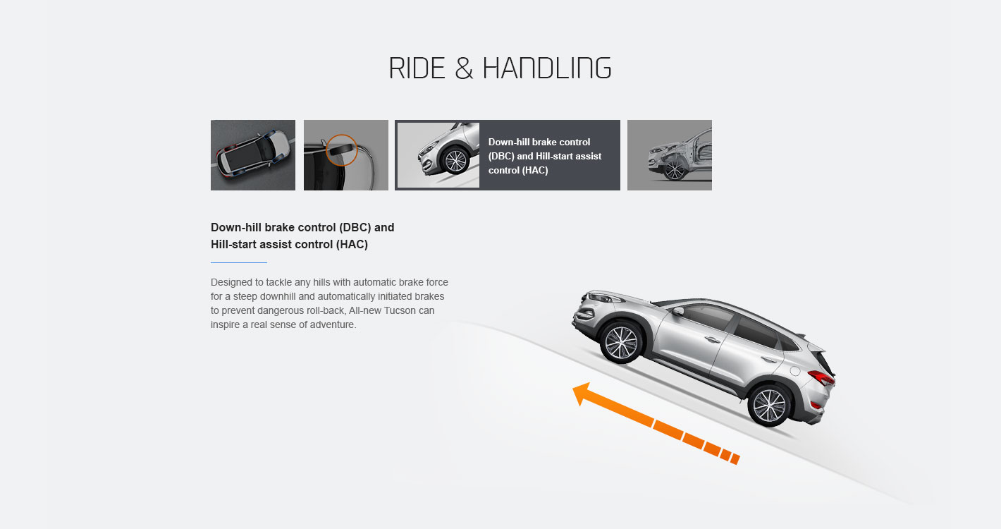 Web design illustrating the Down-hill brake control (DBC) and Hill-start assist control (HAC) safety features of Hyundai Motor's Tucson