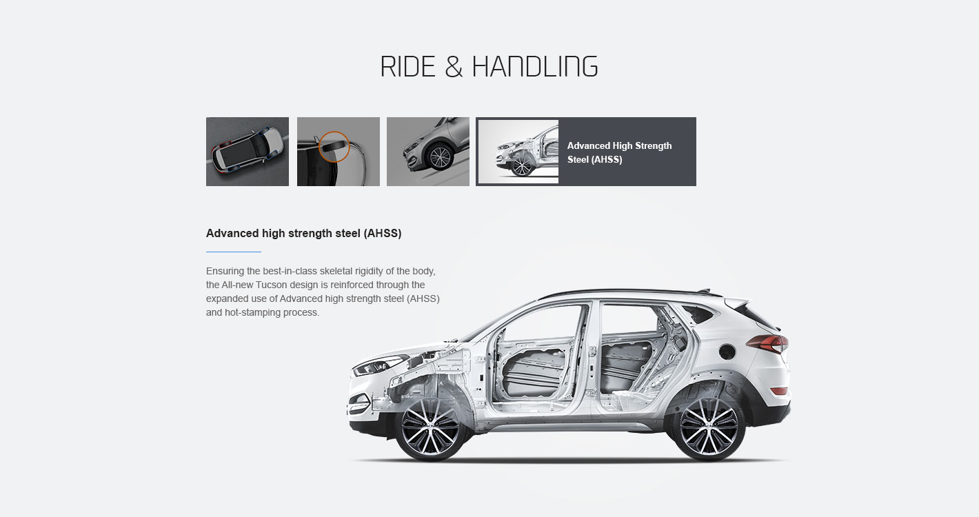 Web design illustrating the Advanced high strength steel (AHSS) of Hyundai Motor's Tucson