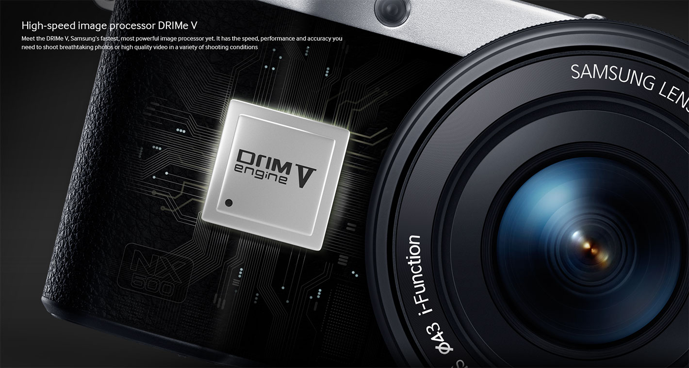 Web design introducing the high-speed image processor DRIMe Vs of Samsung NX500